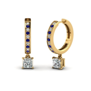 princess cut drop hoop diamond earring with sapphire in FDEAR1161PRGSABL NL YG
