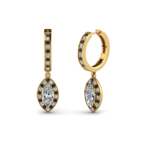 Marquise Halo Black Diamond Earring
