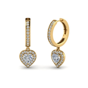Heart Halo Diamond Hoop Earring