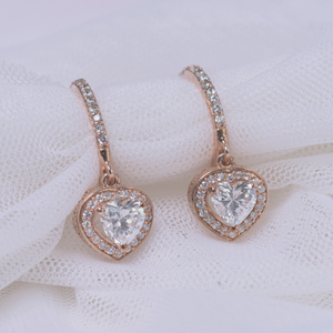 heart halo diamond drop earring in FDEAR1185HT NL RG