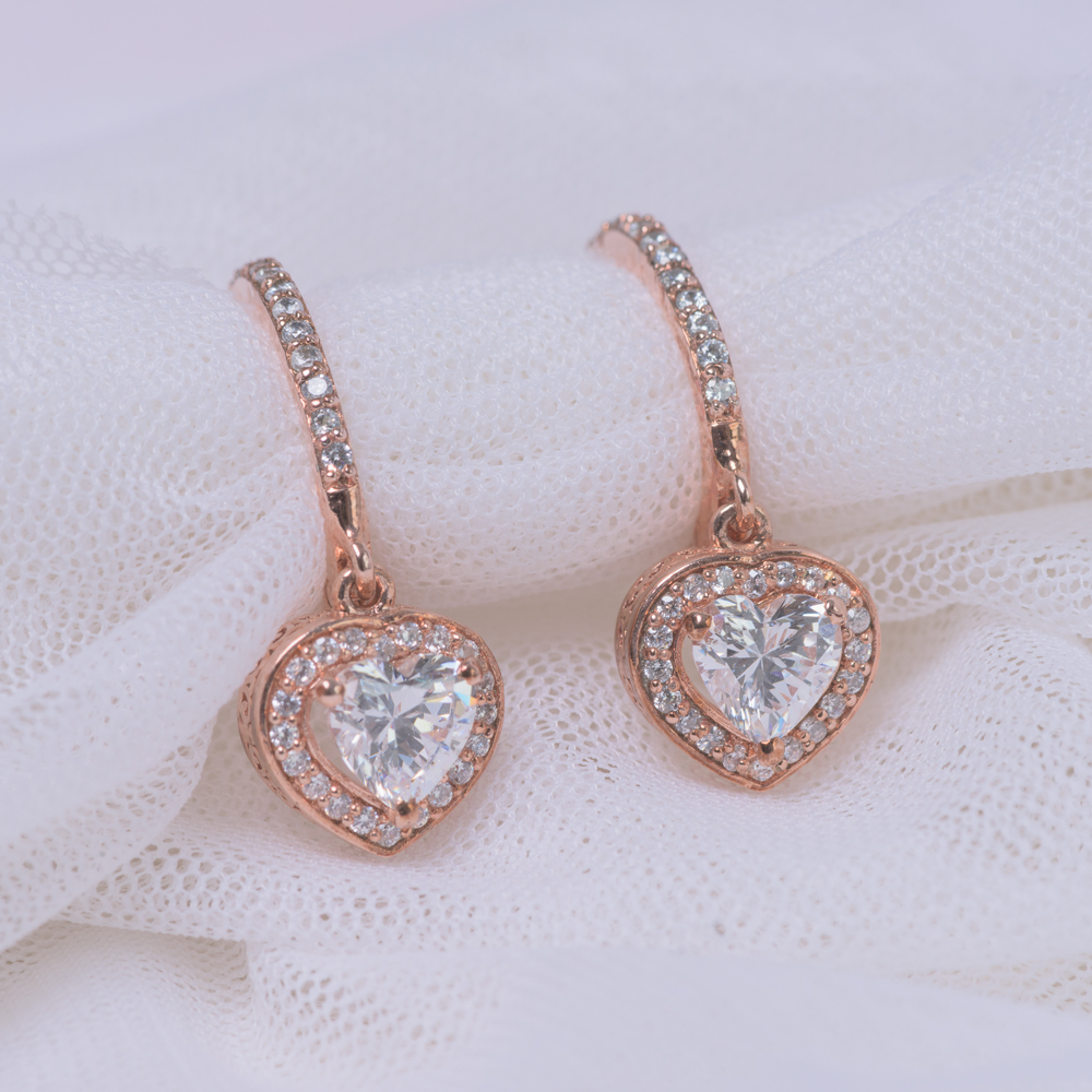 Diamond Heart Halo Drop Earring