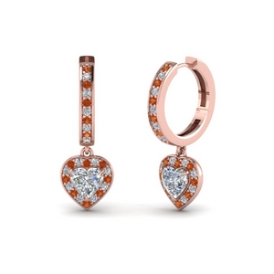 Heart Halo Orange Sapphire Earring