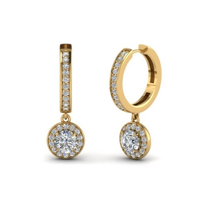 Round Halo Diamond Drop Earring