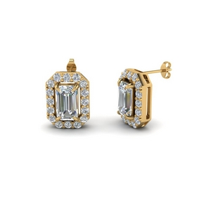 Emerald Cut Halo Stud Earring Gold