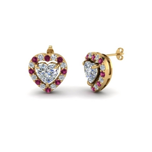Halo Pink Sapphire Stud Earring