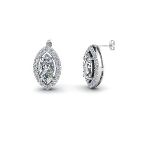 marquise shaped halo diamond stud earring in 14K white gold FDEAR1186MQ NL WG