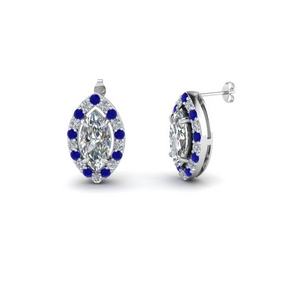 Marquise Sapphire Halo Earring