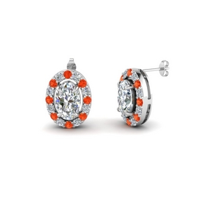 Halo Stud Earring With Orange Topaz