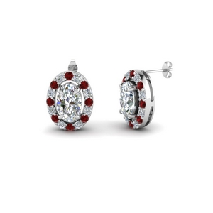 Ruby With Oval Halo Earring
