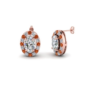 Rose Gold Orange Sapphire Halo Earring