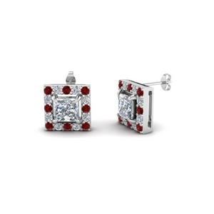 Square Ruby Stud Earring