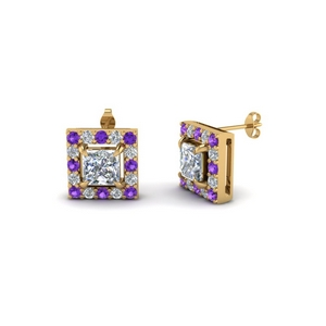 Square Halo Stud Earring