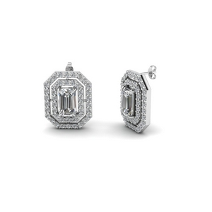 emerald cut diamond double halo stud earrings in FDEAR1189EM NL WG