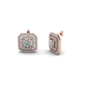 princess cut double halo diamond stud earring in FDEAR1189GE NL RG