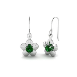 Emerald Prong Earring For Women