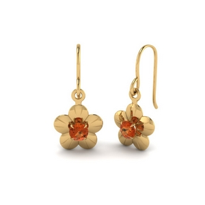 Single Orange Sapphire Earring