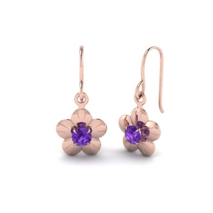 Floral Pattern Purple Topaz Earring