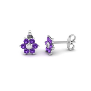 Unique 6 Stone Stud Earring
