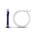 Channel Set Sapphire Hoop Earrings