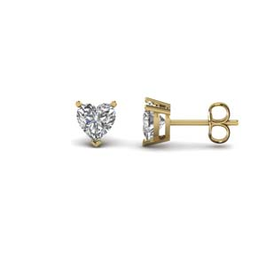 1 Carat Heart Shape Stud Earrings