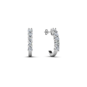Platinum Huggie Diamond Hoop Earring