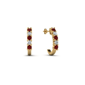 14K Yellow Gold Half Huggie Earring