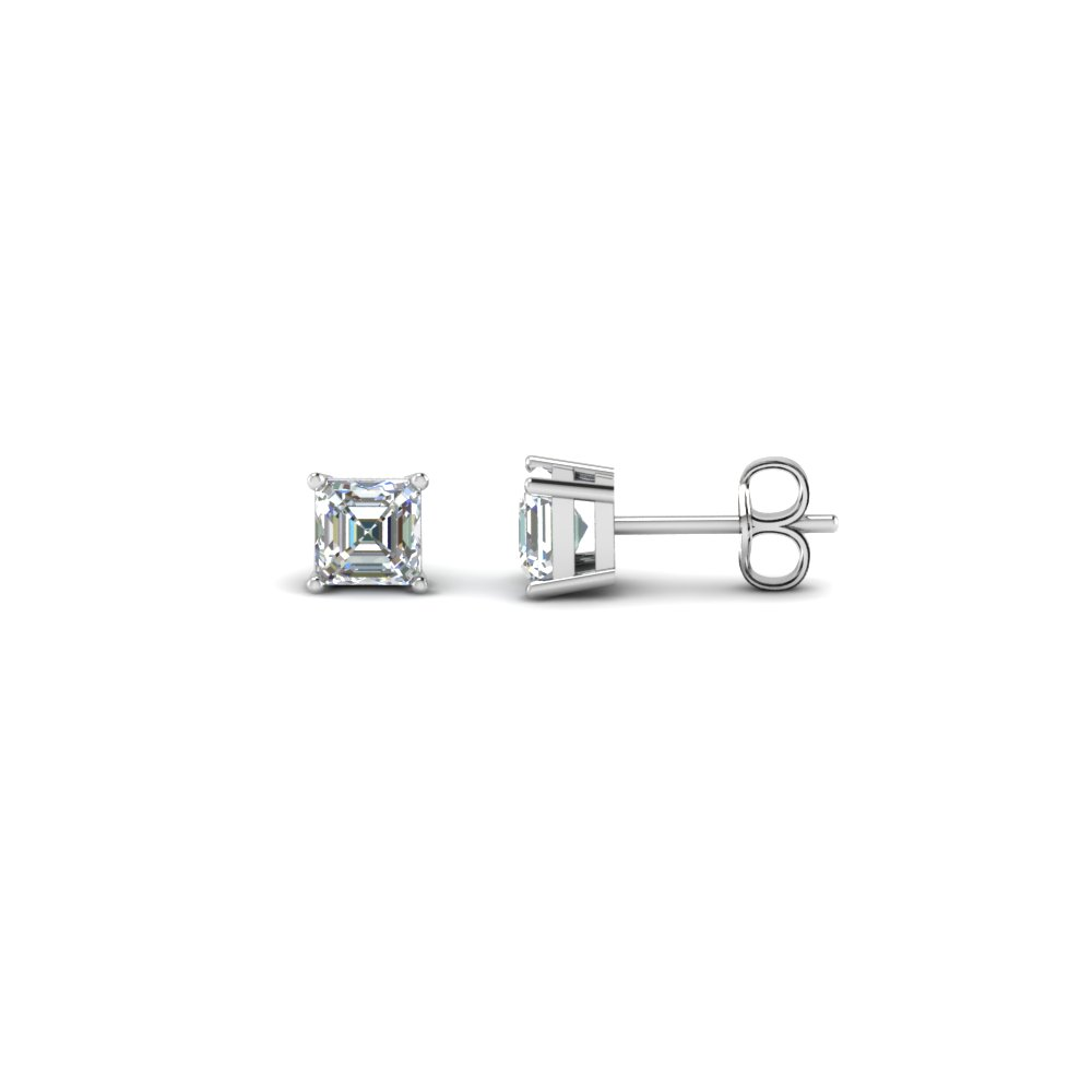 asscher cut diamond stud earrings in 14K white gold FDEAR4AS NL WG