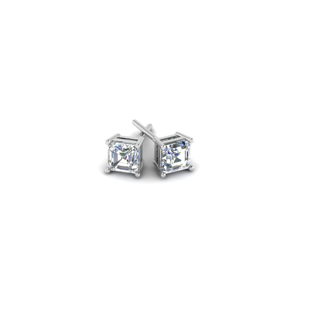 asscher cut diamond stud earrings in 14K white gold FDEAR4ASANGLE1 NL WG