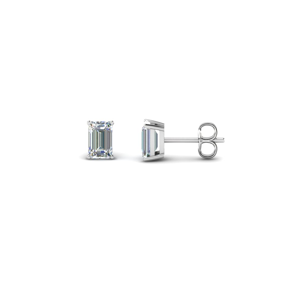 Emerald Cut Diamond Stud Earrings In 14k White Gold Fdear4em Nl Wg