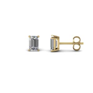 One Carat Emerald Cut Stud Earring
