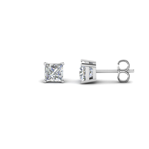 1 carat princess cut diamond earring for women in 18K white gold FDEAR4PR0.50CT NL WG