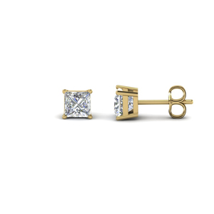 1 carat princess cut diamond earring for women in 14K yellow gold FDEAR4PR0.50CT NL YG