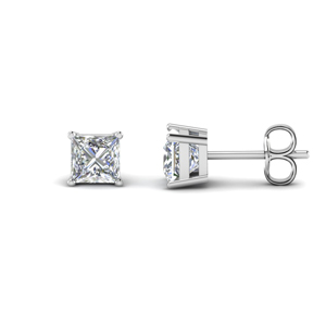 princess cut diamond earring 3 carat in FDEAR4PR1.5CT NL WG