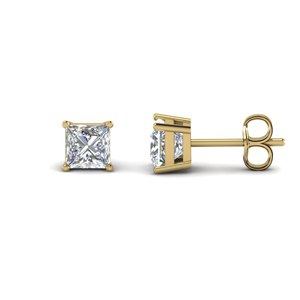 princess cut diamond earring 3 carat in FDEAR4PR1.5CT NL YG