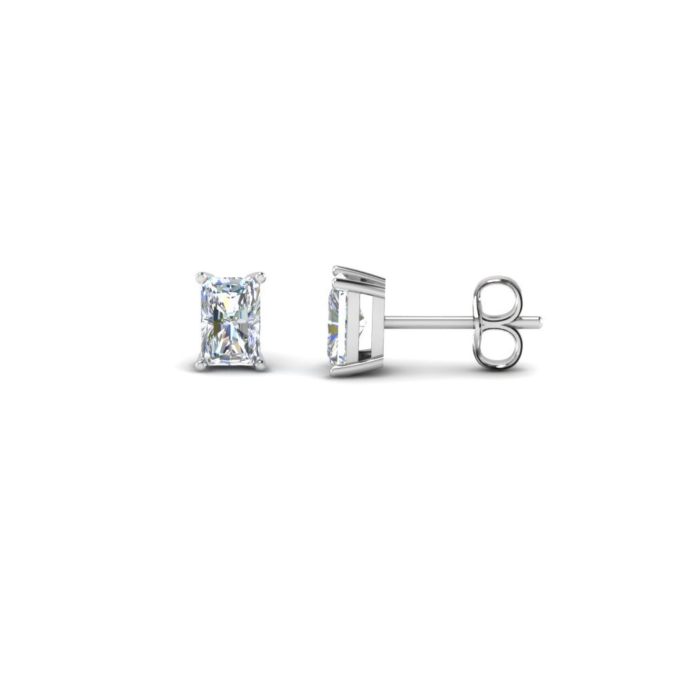 Platinum Radiant Diamond Stud Earrings