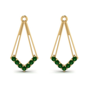 Earring Jacket With Emerald