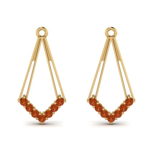 Ear Jacket With Orange Sapphire