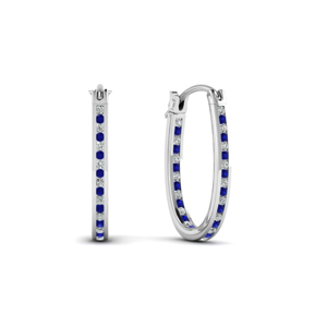 diamond hoops earrings with sapphire in 14K white gold FDEAR62190GSABL NL WG