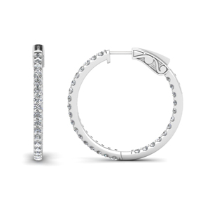 Platinum Inside Out Hoop Earrings