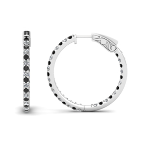 1 carat in and out hoop earring with black diamond in FDEAR650183GBLACK NL WG