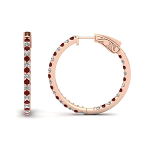 1 carat diamond in and out hoop earring with ruby in FDEAR650183GRUDR NL RG