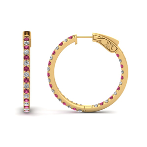 1 carat diamond in and out hoop earring with pink sapphire in FDEAR650183GSADRPI NL YG