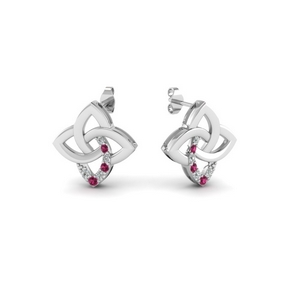 f30c3a88c celtic knot stud diamond earring with pink sapphire in FDEAR651781GSADRPI NL  WG. Add to Cart. SKU: FDEAR651781