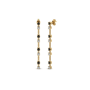 long hanging drop earring with black diamond in 14K yellow gold FDEAR652340GBLACK NL YG
