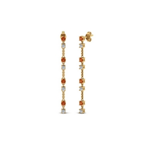 long hanging diamond drop earring with orange sapphire in 14K yellow gold FDEAR652340GSAOR NL YG