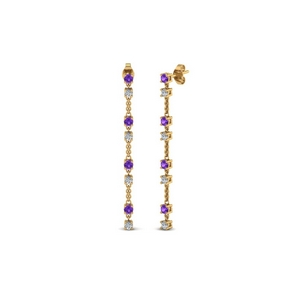 long hanging diamond drop earring with violac topaz in 14K yellow gold FDEAR652340GVITO NL YG