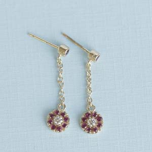Pink Sapphire Hanging Drop Earring