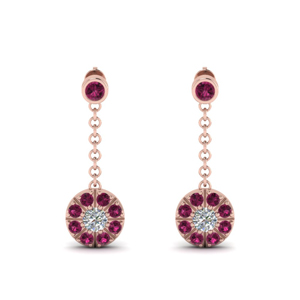 Hanging Drop Earring With Pink Sapphire