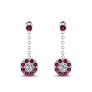 Womens Pink Sapphire Earrings