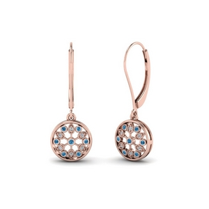 antique floral drop dangle diamond earring with blue topaz in 14K rose gold FDEAR8677GICBLTO NL RG